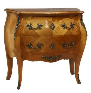 FRENCH LOUIS XV STYLE TWO-DRAWER BOMBE COMMODE