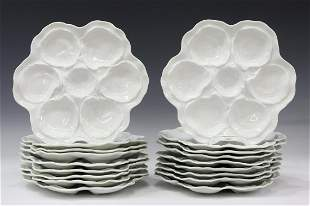 (18) FRENCH LIMOGES PORCELAIN OYSTER PLATES
