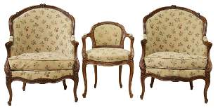 (3) FRENCH LOUIS XV STYLE UPHOLSTERED ARMCHAIRS