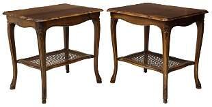 2) FRENCH LOUIS XV STYLE WALNUT & CANE SIDE TABLES