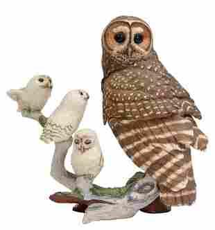 FRANKLIN MINT GEORGE McMONIGLE OWL FIGURE GROUP