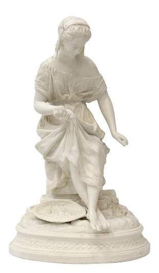 PARIAN WARE BISCUIT PORCELAIN SEATED WOMAN