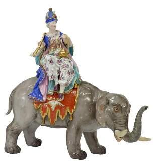 MEISSEN PORCELAIN FIGURE GROUP SULTANA & ELEPHANT