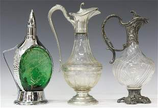 (3) FRENCH METAL-MOUNTED GLASS CLARET JUGS