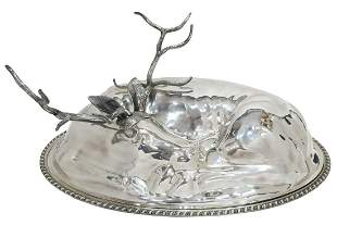 TEGHINI FIRENZE SILVERPLATE STAG COVERED PLATTER
