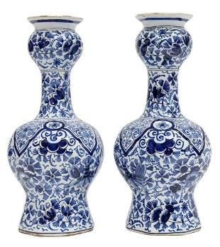 (2) DELFT BLUE & WHITE GARLIC-HEAD BOTTLE VASES