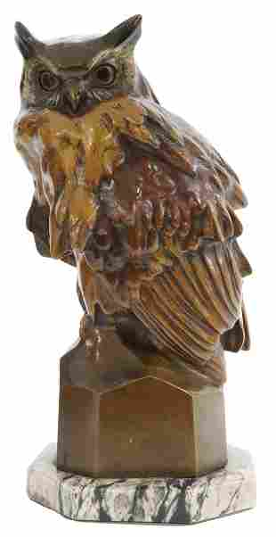 COLD-PAINTED VIENNA BRONZE FIGURE OF AN OWL