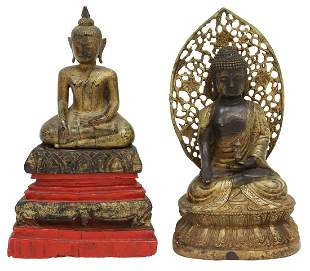 (2) THAI GILTWOOD & BRONZE MEDICINE BUDDHA