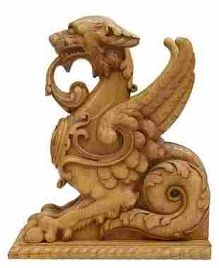 CARVED OAK WINGED GRIFFIN ARCHITECTURAL