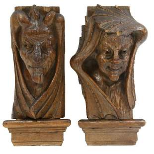 (2) GOTHIC REVIVAL ARCHITECTURAL FIGURAL ELEMENTS