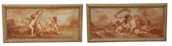 2) FRENCH SCHOOL MANNER OF BOUCHER PUTTI PAINTINGS
