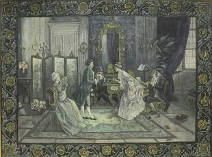 LARGE PAINTED TAPESTRY COURTING COUPLES IN SALON