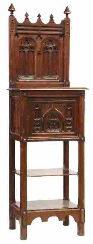 FRENCH GOTHIC REVIVAL WALNUT CABINET, 19TH C.