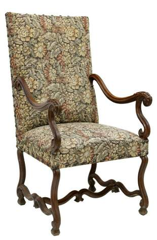 FRENCH LOUIS XIV STYLE WALNUT UPHOLSTERED FAUTEUIL