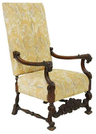 FRENCH LOUIS XIV STYLE WALNUT LIONS HEAD FAUTEUIL