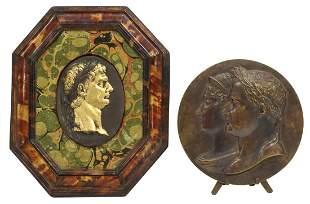 (2) BRONZE RELIEF PLAQUES NAPOLEON & CLAUDIUS