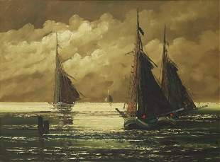 JEAN COUNE (1900-1963) SAILBOATS OIL PAINTING