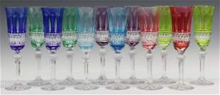 (12) FRENCH CUT-TO-CLEAR CRYSTAL CHAMPAGNE FLUTES
