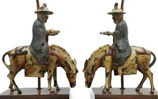 (2) CHINESE CAST IRON SCHOLAR & HORSE TABLE LAMPS