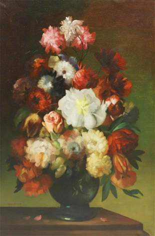 """SIGNED FLORAL STILL LIFE PAINTING, 36"""" X 24"""""""
