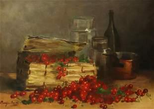 EUGENIE MOUJON-GAUVIN (D.1910) STILL LIFE CHERRIES