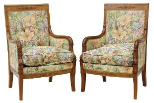 (2) FRENCH EMPIRE STYLE FRUITWOOD BERGERES