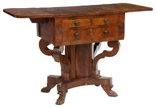 AMERICAN EMPIRE MAHOGANY DROP-LEAF TABLE STAND