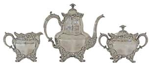 3) WHITING MFG. CO. STERLING FLORAL COFFEE SERVICE