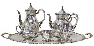 (6) SALVADOR DE LA SERNA STERLING TEA & COFFEE SET