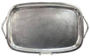 """MEXICAN STERLING SILVER HANDLED TRAY, 15.5""""L"""