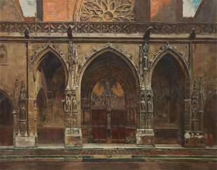 AUGUSTE LEROUX (1871-1954) GOTHIC CHURCH DOORS