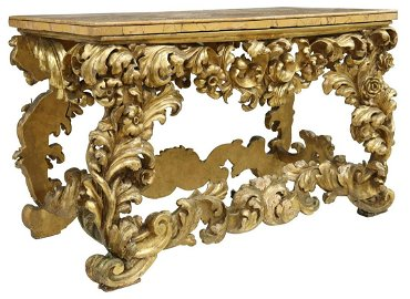 ITALIAN BAROQUE MARBLE-TOP GILTWOOD CONSOLE TABLE