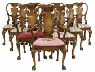 (10) CHIPPENDALE STYLE BURLWOOD DINING CHAIRS