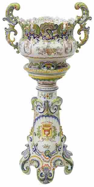 FRENCH ROUEN FAIENCE PLANTER ON STAND