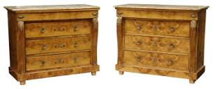 (2) EMPIRE STYLE MARBLE-TOP BURLED ELM COMMODES