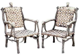 (2) LAZY CF RANCH ALUMINUM FAUX ANTLER ARMCHAIRS