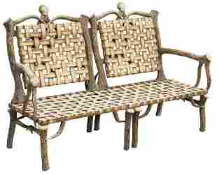 LAZY CF RANCH ALUMINUM FAUX ANTLER SETTEE BENCH