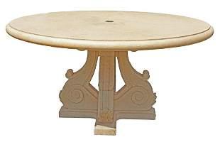 """LARGE CAST CONCRETE GARDEN TABLE, 58.5""""DIAM"""