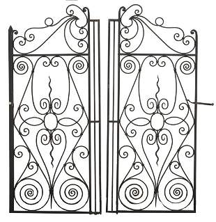 (2) ARCHITECTURAL FRENCH WROUGHT IRON GATE