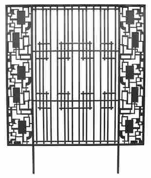 LARGE BLACK WROUGHT IRON ARCHITECTURAL PANEL