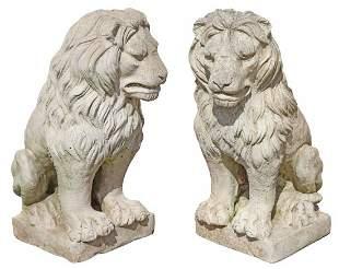 (2) CAST STONE SEATED LION GARDEN STATUARY
