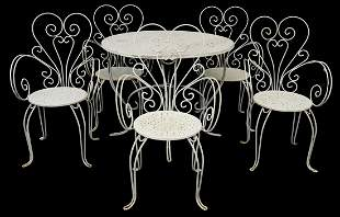(6) FRENCH PAINTED IRON PATIO TABLE & CHAIRS