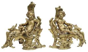 (2) FRENCH LOUIS XV STYLE BRONZE FIGURAL CHENETS