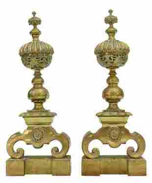 (2) FRENCH LOUIS XVI STYLE BRONZE ANDIRONS