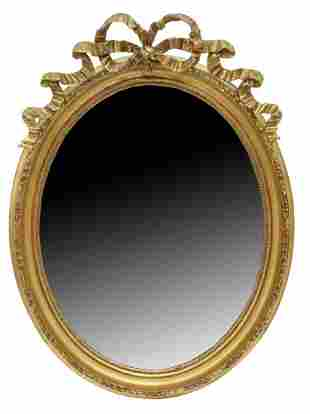FRENCH LOUIS XVI STYLE GILT HANGING WALL MIRROR