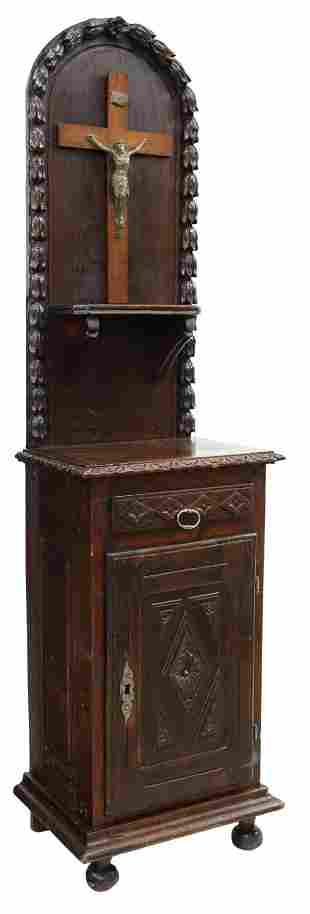 FRENCH CARVED OAK HALL CABINET WITH CRUCIFIX