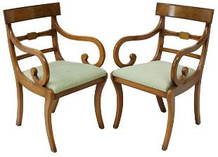 (2) FRENCH EMPIRE STYLE WALNUT ARMCHAIRS