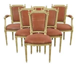 (6) FRENCH LOUIS XVI STYLE UPHOLSTERED CHAIRS