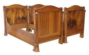 (2) FRENCH LOUIS PHILIPPE WALNUT ALCOVE DAY BEDS