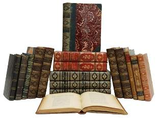 (17) FRENCH & ENGLISH LEATHER-BOUND LIBRARY BOOKS